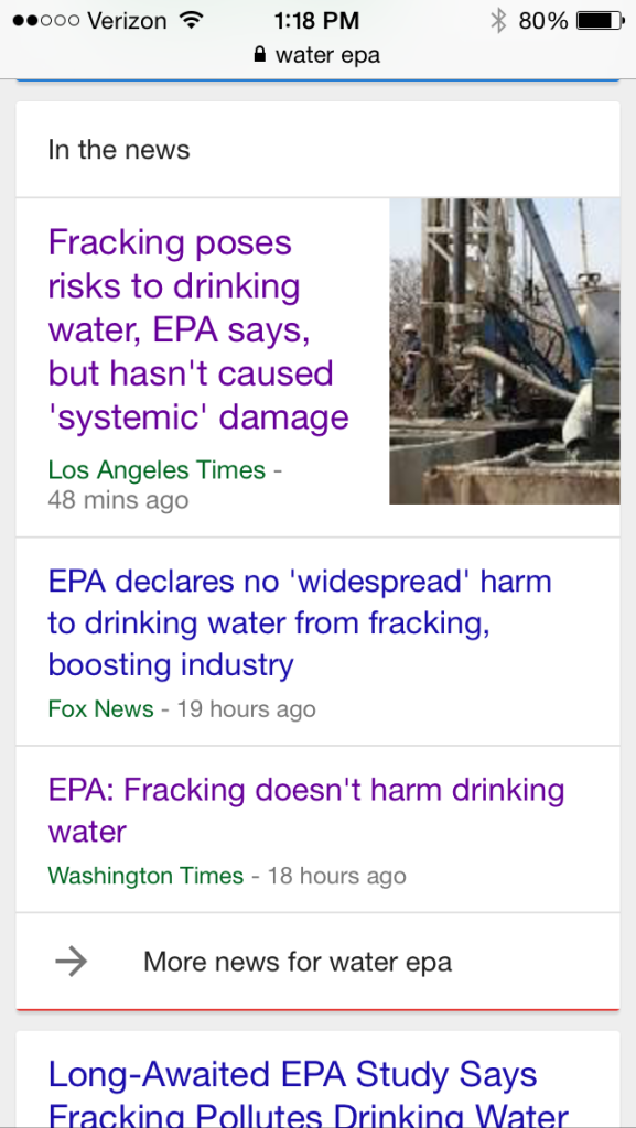 Google search for %22water EPA%22 on June 5, 2015