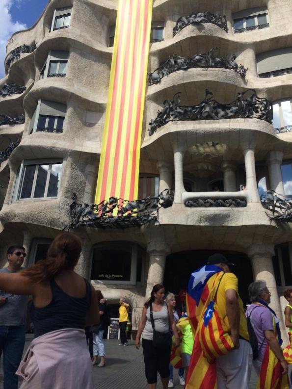 Gaudi building Catalan flag